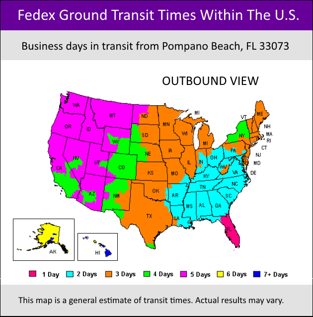 Fedex ground service map with the US